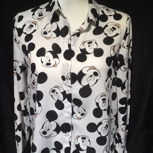Disney Mickey Mouse button down blouse, very cute!